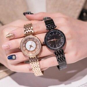 Image 4 - Relojes dama reloj de lujo de acero inoxidable, reloj de pulsera de cuarzo para mujer
