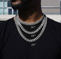 D&Z Hip Hop Micro Paved Cubic Zirconia Cuban Link Chain Necklace For Men Iced Out Street Rapper Jewelry