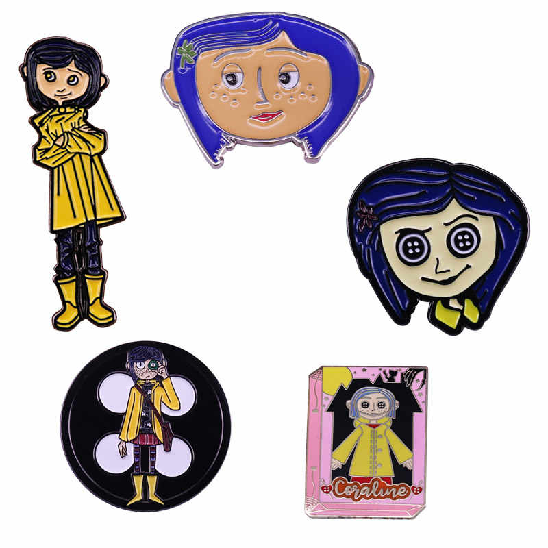 Coraline Enamel Pin American Stop Motion Animated Fantasy Film Inspired Brooch Halloween Accessory Brooches Aliexpress