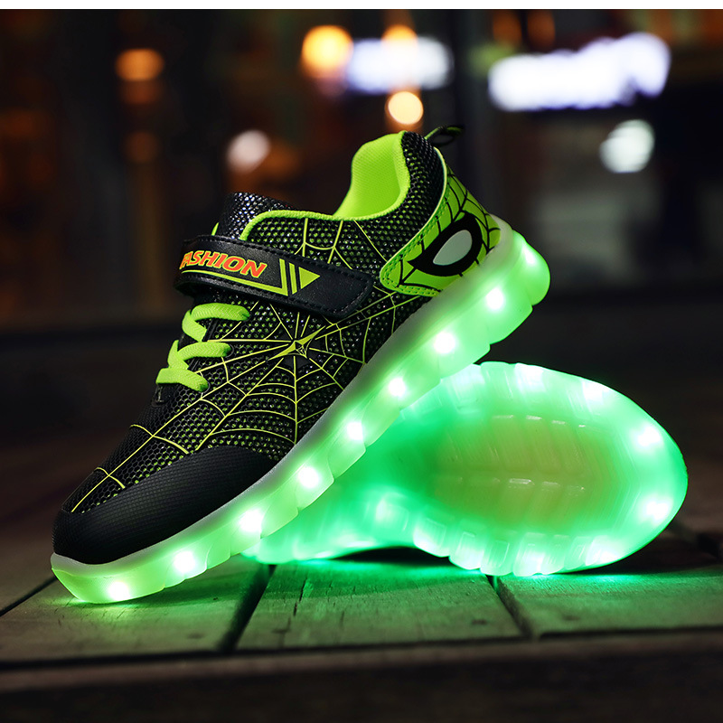 RISRICH Kids Glowing Light Up Sports Shoes With Tennis Led For Boys Girls Spiderman Luminous Sneakers Kids Usb Pink Shoes