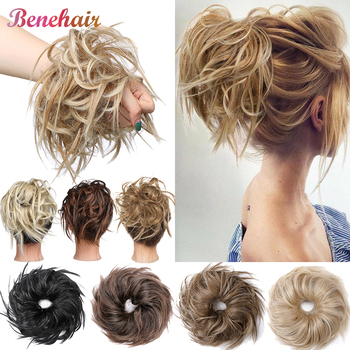 BENEHAIR Messy Bun Hair Piece Scrunchy Women Chignon Synthetic Extension For Band Donut Wrap Ponytail - discount item  15% OFF Synthetic Hair