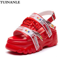 TUINANLE Women Sandals 2020 Summer Chunky High Heels Wedge Shoes