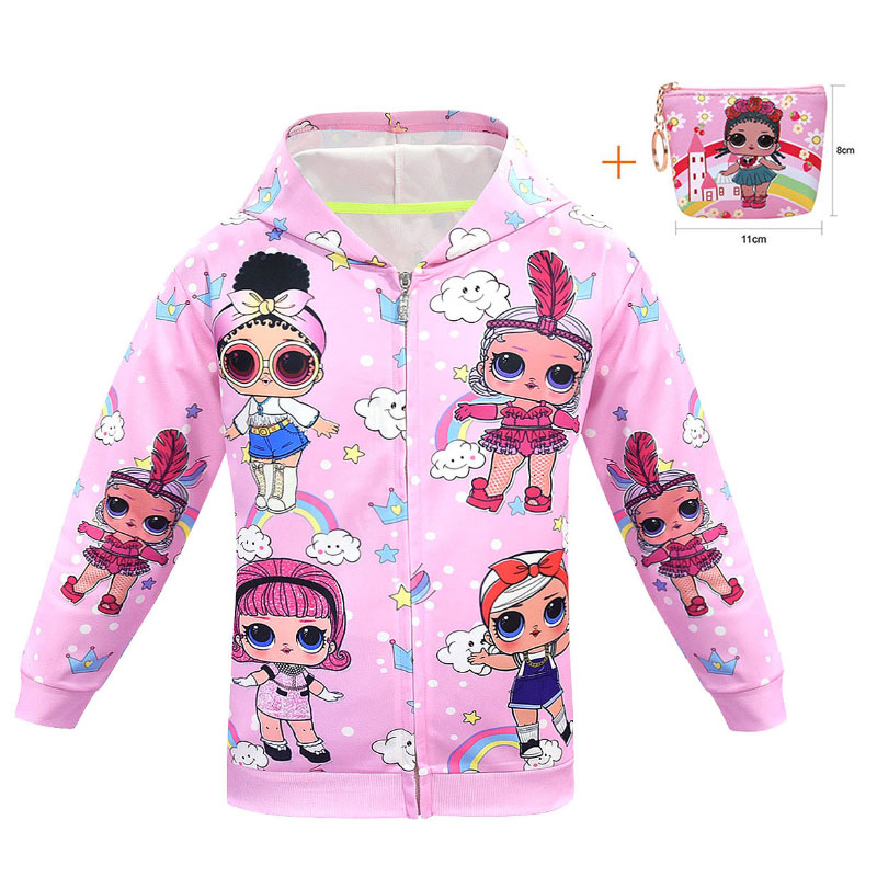 Explosion Models Cartoon Doll LOl Long-sleeved Hooded Jacket Magical Girl Hit Color Rib Coat +bag