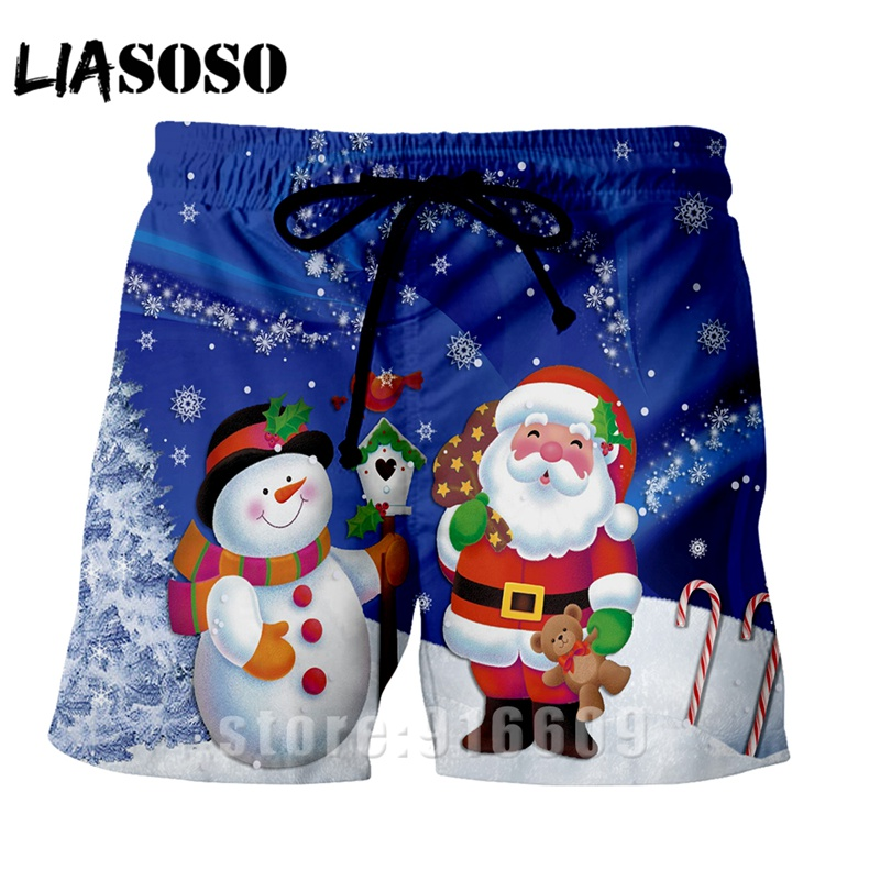 Fashion Christmas Short Pants Casual Streetwear Xmas Men Women Harajuku Rock Panties Beach Sweatpants Cosplay Santa Claus Shorts