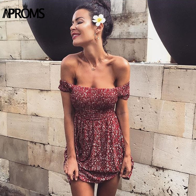 Aproms Sweet Ruched Pleated Print Short Dress Streetwear Off Shoulder Female Dress 2020 Boho Summer High Waist Sundress Vestidos 1