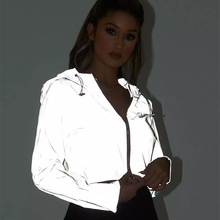 цена на InstaHot Hooded Drawstring Zip Up Jacket Women Cool Gray Reflective Light Loose Crop Tops Long Sleeve 2018 Fashion Open Stitch