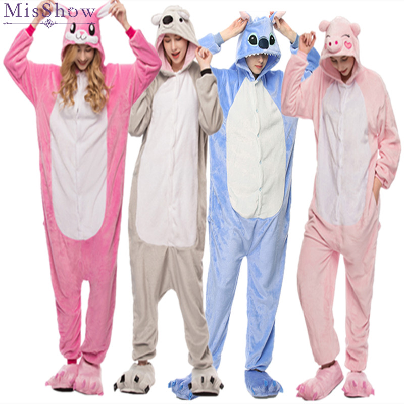 2019 Winter Women Kigurumi Onesie Unicorn Stitch Totoro Pajamas Sets Cute Flannel Animal Pajama Nightie Warm Sleepwear Costume