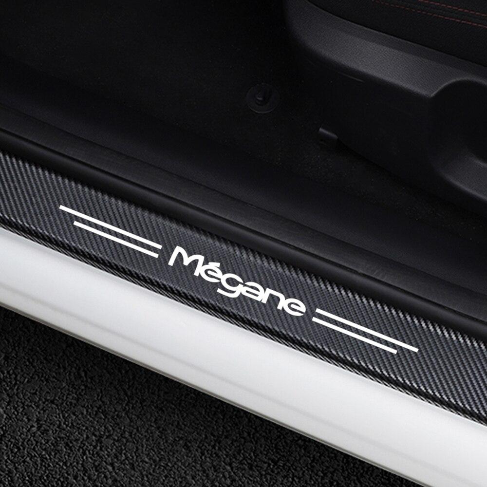 4 pièces/ensemble autocollants de plaque de seuil de porte de voiture pour Renault Megane 2 3 scénic 4 1 garde d'entrée de porte automatique accessoires de protection en Fiber de carbone
