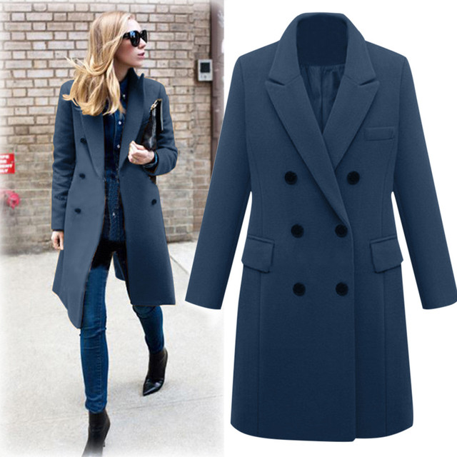 Womens Winter Lapel Wool Coat Trench Jacket Long Overcoat Outwear autumn winter Dropshipping size Leisure Work clothes Selling 3