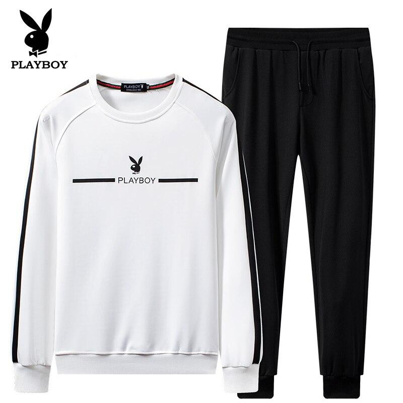 Playboy Trendy Men's Fashion Warm Korean Slim Baseball Uniform Sports Casual Matching Suit Clothes