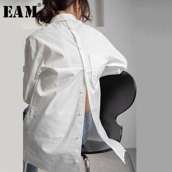 [EAM] Women Back Button Pocket Split Temperament Blouse New Lapel Long Sleeve Loose Fit Shirt Fashion Spring Autumn 2020 1T252
