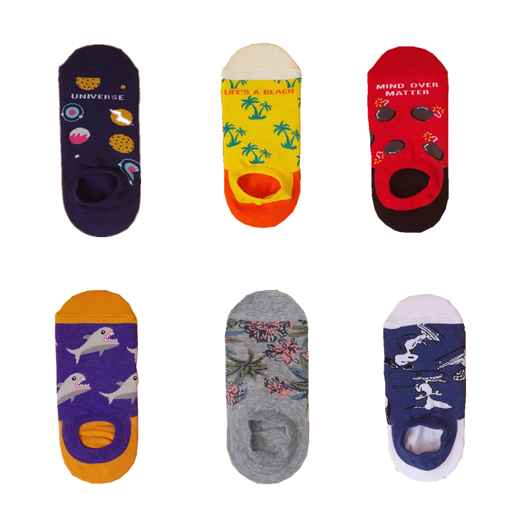 Women's Summer Shark Pattern Silicone Non-slip Cotton Boat Socks Harajuku Comfortable Breathable Cartoon Funny Invisible Socks