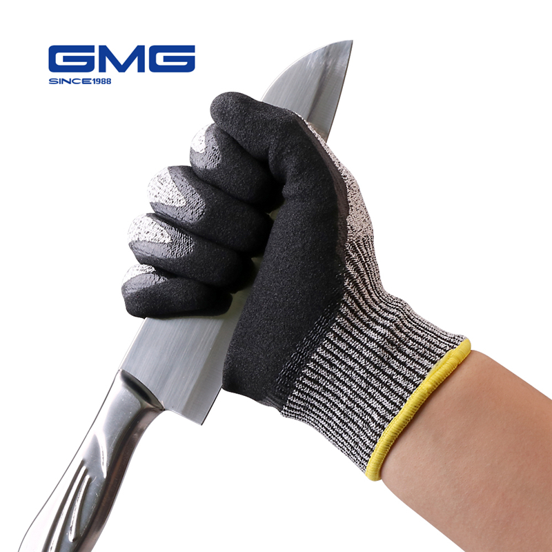 Safety Gloves 2018 GMG Grey Anti Cut HPPE Shell Black Nitrile Sandy Coating Work Gloves Mechanic Cut Resistant Gloves