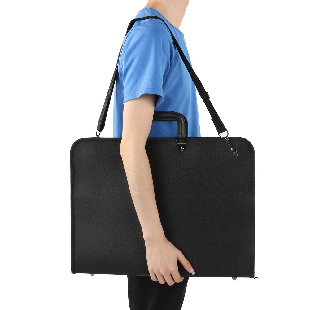 New Black Portable A3 Large Capacity File Document Bag A3 Drawing Sketch Board Storage Painting Plate Bags Carry Case