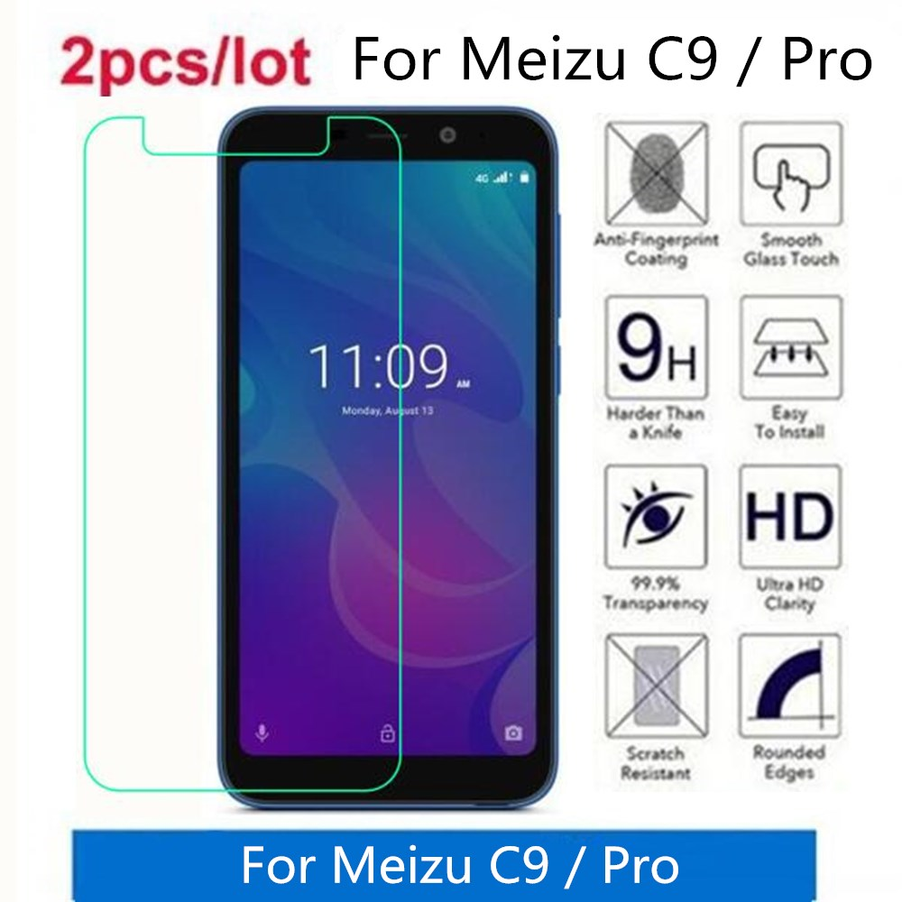 2 Pcs/Lot For Meizu C9 Pro Tempered Glass 9H 2.5D Premium Screen Protector Film On For Meizu C9 M9C