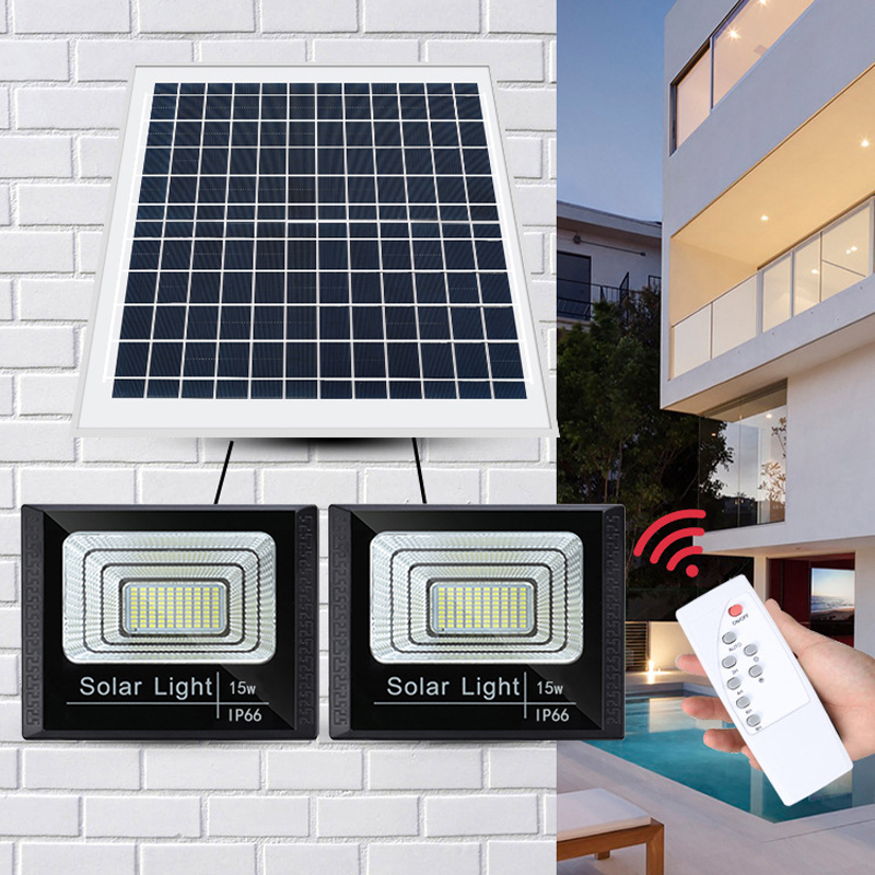 A2 Solar Light Double Head Solar Lamp15w Super Bright 12000mA Battery Wireless Outdoor Garden Waterproof Large Solar Panel Light