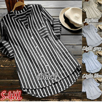 Women New Summer Striped V-Neck Blouses Loose Baggy Shirts and blouses Cotton and Linen Button Padding Tunic Blouses Plus Size 1