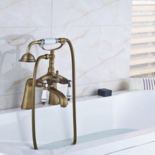 цена на Retro Antique Brass Double Ceramic Handles Deck Mounted Bathroom Clawfoot Bathtub Tub Faucet Mixer Tap w/Hand Shower aan009