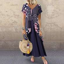 2019 ZANZEA Maxi Long Dress Autumn Summer Dress Women Polka Dot Print Patchwork SundressPleated Plus Size Sexy V Neck Vestidos(China)