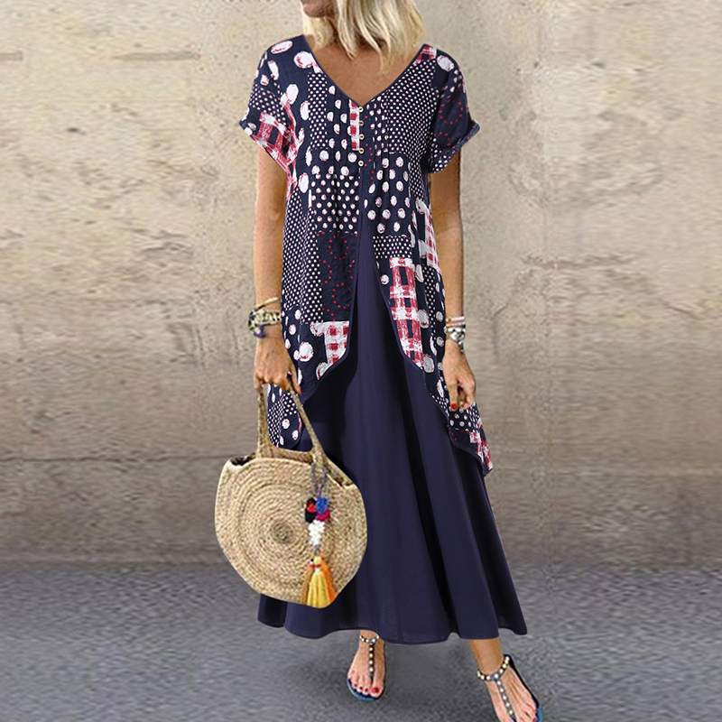 2019 ZANZEA <font><b>Maxi</b></font> Long Dress Autumn Summer Dress Women Polka Dot Print Patchwork SundressPleated Plus Size Sexy V Neck <font><b>Vestidos</b></font> image