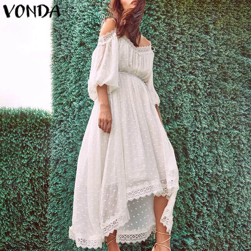 VONDA Макси платье сексуальное с открытыми плечами белое кружевное вечернее платье 2019 Лето Плюс Размер Vestidos Повседневный свободный сарафан 5XL Халат Платья      АлиЭкспресс