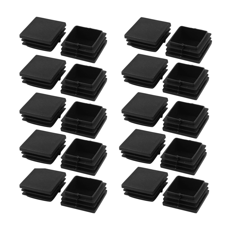 EASY-20 Pieces Plastic Square Tube Coupling Cap Plug Cap 40 Mm X 40 Mm Black