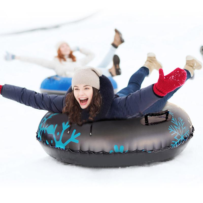 Winter Inflatable Skiing Board Environmental Protection And Durability PVC Outdoor Ski Circle With Handle For Child Adult