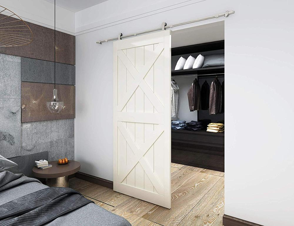 DIYHD Brushed Stainless Steel Top Mount Sliding Barn Door Track Easy Mount Barn font b Closet