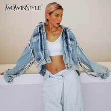 Denim Jacket Clothing TWOTWINSTYLE Women Long-Sleeve Streetwear Vintage Casual Fashion