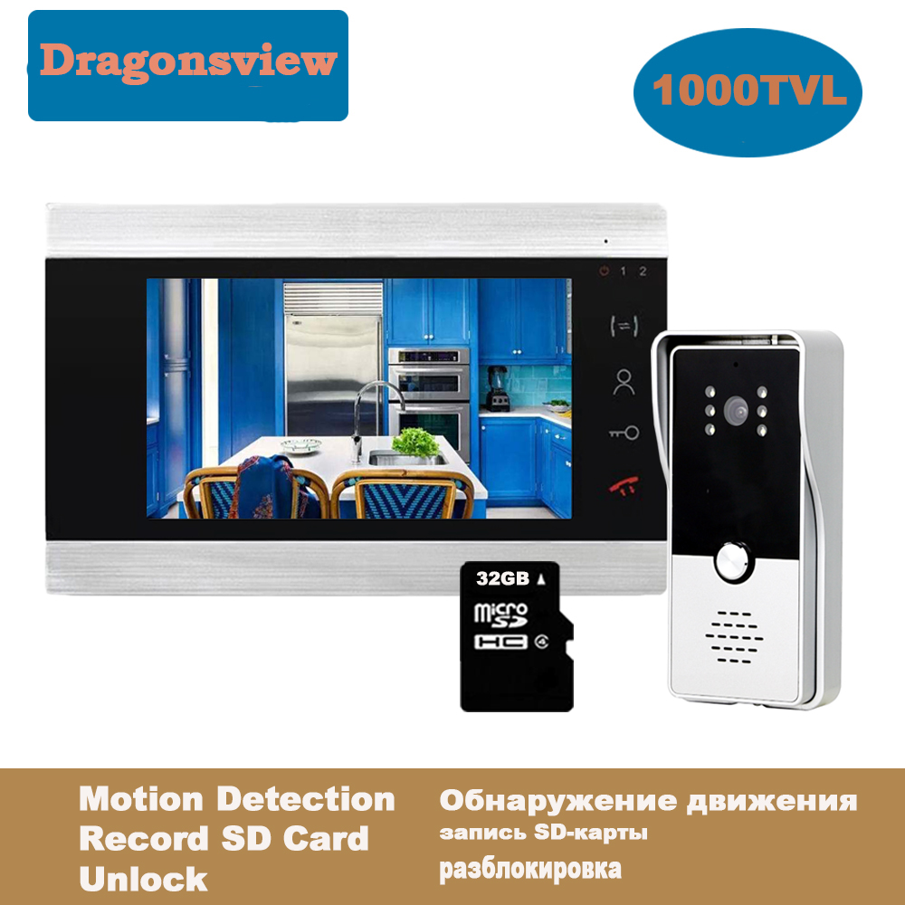 Dragonsview Video Door Phone System <font><b>7</b></font> Inch Doorbell Camera with Movement Detection Door Access Control System Waterproof Record image