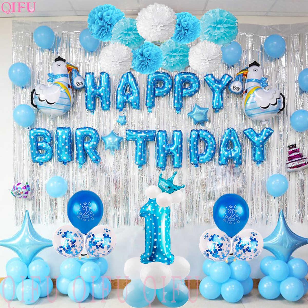 Qifu 1 Cumpleaños 1st Decoraciones Para Fiesta De Cumpleaños De Los Niños De Mi Primer Cumpleaños Azules De Fiesta Decoración De Globos De Papel De Aluminio Bebé Niño Que Soy Un Año Decoraciones
