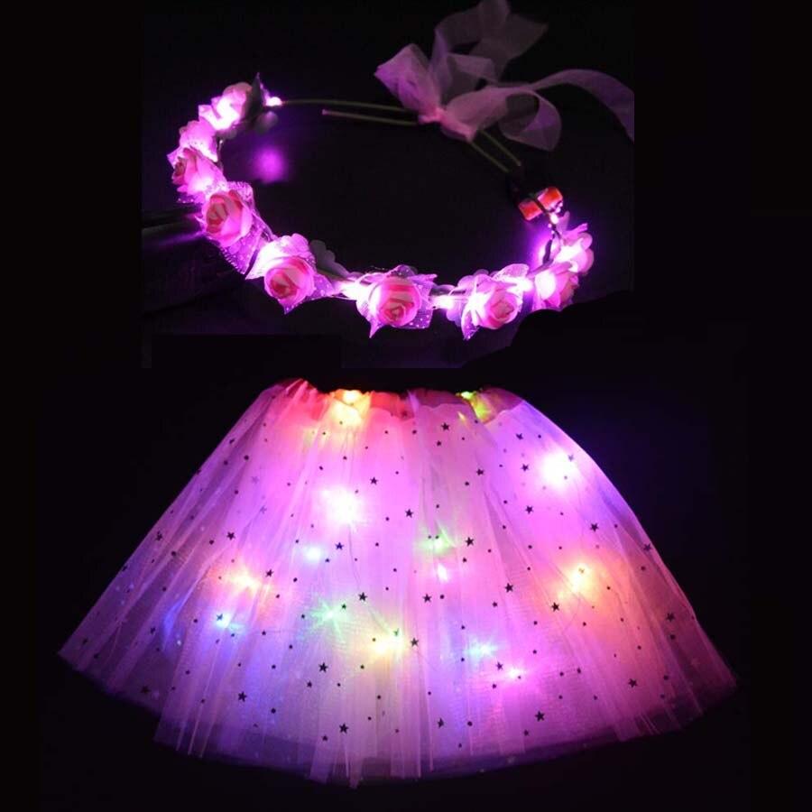 LED Glowing Light Kids Women Ballet Tutu Skirt Dance Clothing Wedding Party Headband Flower Girl Crown Christmas Navidad Gift