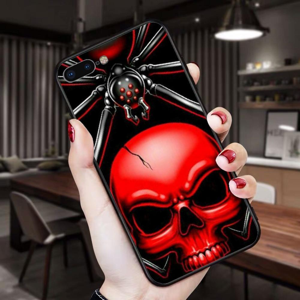 Için iphone 11 durumda kafatası siyah TPU yumuşak kauçuk telefon kapağı iphone 11 pro max x xs xr 7 8 artı 6 6s 5 5s 5se