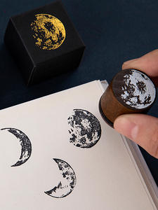 Wood-Stamp Stationery Scrapbooking Craft Moon-Series Vintage DIY