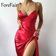 Forefair Strap Party Dress Red Summer Women Clothing Clubbing Outfits Sheath Slit Midi Sleeveless Satin Sexy Dress 2021