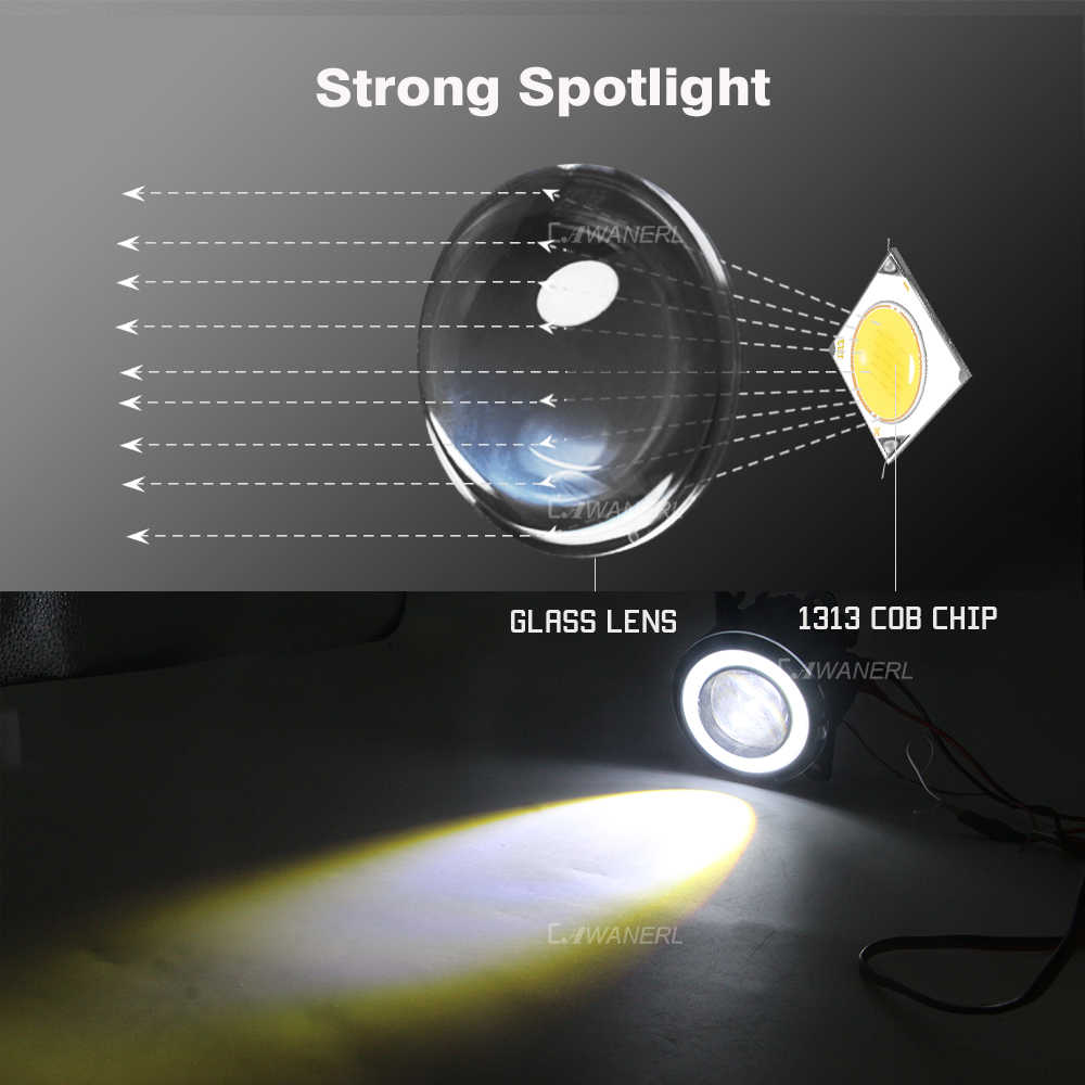 Cawanerl Peugeot 207 2006-2012 için araba H11 30W LED sis işık COB melek göz Daytime koşu işık DRL 3000LM 12V 2 adet