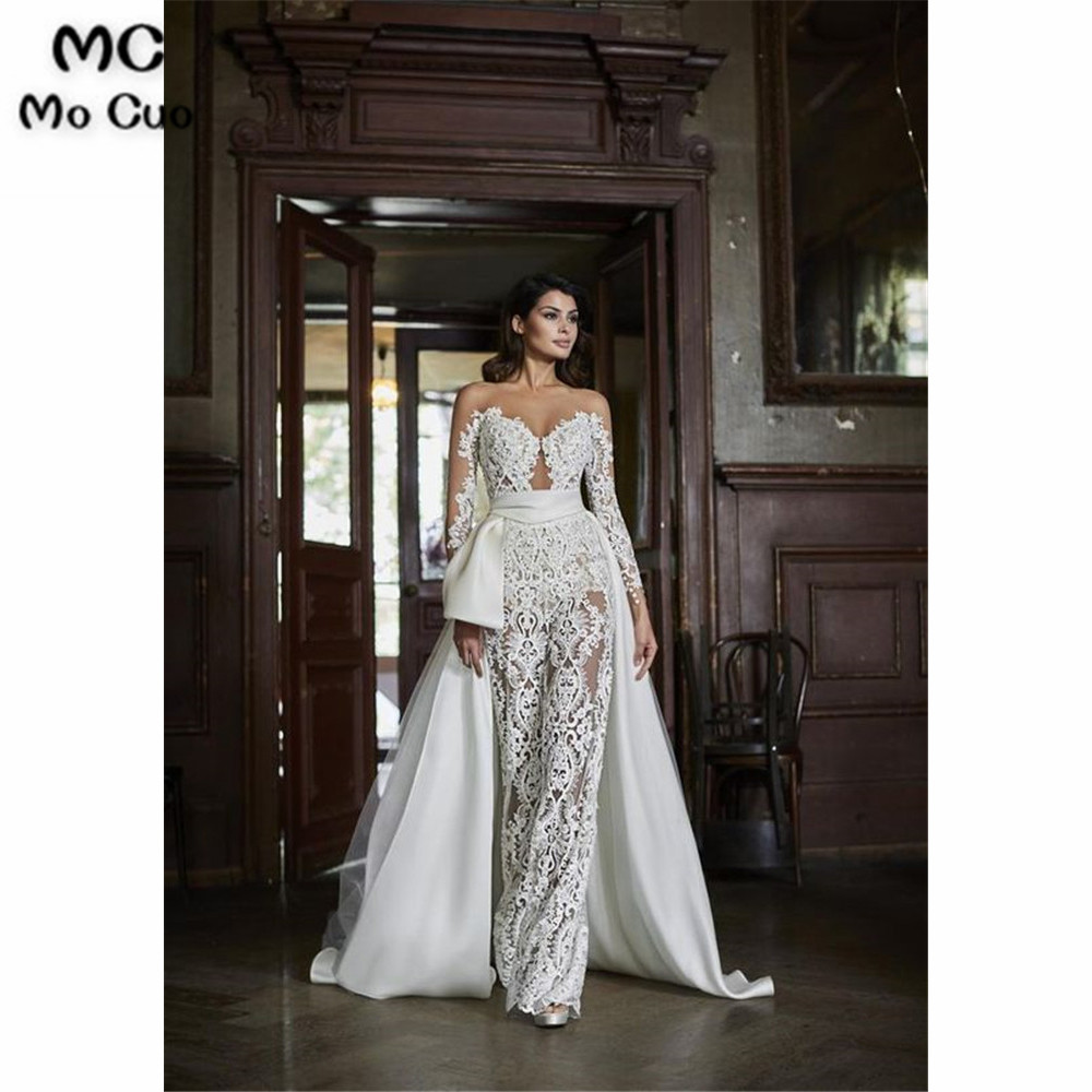 Luxuries Illusion  Jumpsuit Prom Dresses Long Sleeves With Appliques Lace Evening Gown Vestido De Festa Prom Dresses Custom Made