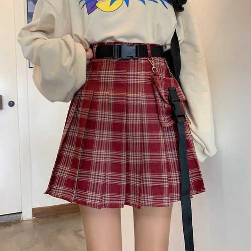 3 couleur nouveau automne Vintage taille haute Plaid jupes gothique femmes jupe un mot outillage jupe plissée Match ceinture poche