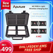 Aputure al mc 4個キットedライト4灯ワイヤレス充電ボックスセットrgb写真撮影の補助光ビデオ肖像撮影ライト