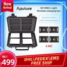 Aputure al mc 4PCS ערכת ed אור ארבעה אורות אלחוטי טעינת תיבת סט RGB אור מילוי צילום וידאו דיוקן ירי אור