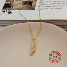 Pendants Necklaces 925 Sterling Silver Leaf Gold Chain Zircon Bohemian Couple Long Necklace For Wome