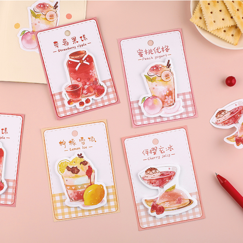 Fruit Tea Restaurant Series Sticky Notes Memo Pad Diary Stationary Flakes Scrapbook Decorative Cute Strawberry N Times Sticky