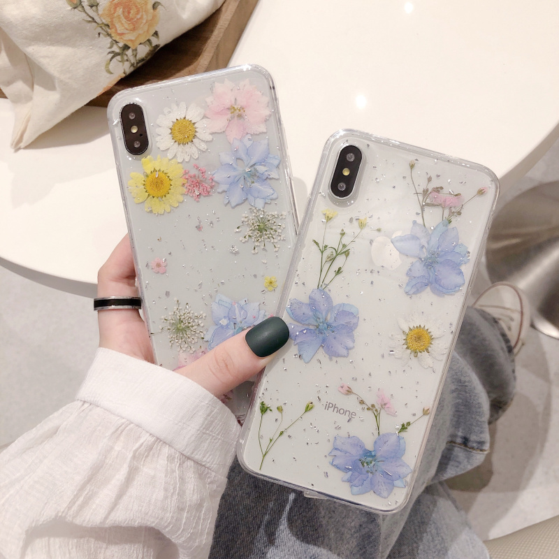 Fashion Glitter real Dry pressed Flower phone case For iphone 12 11 pro XS MAX x SE XR 6 7 8 plus transparent silicone cover