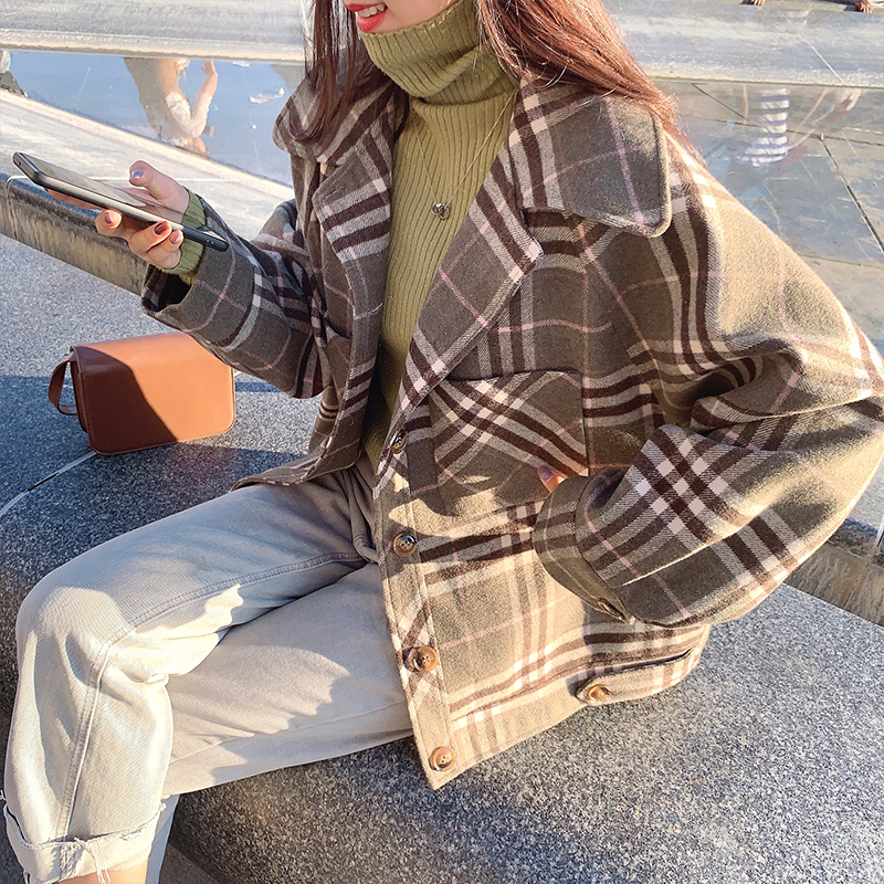 MISHOW 2019 Autumn Winter Gray Thick Woolen Coat Women Causal Lapel Striped Plaid Long Sleeve Coat Jackets  MX19C9538 1