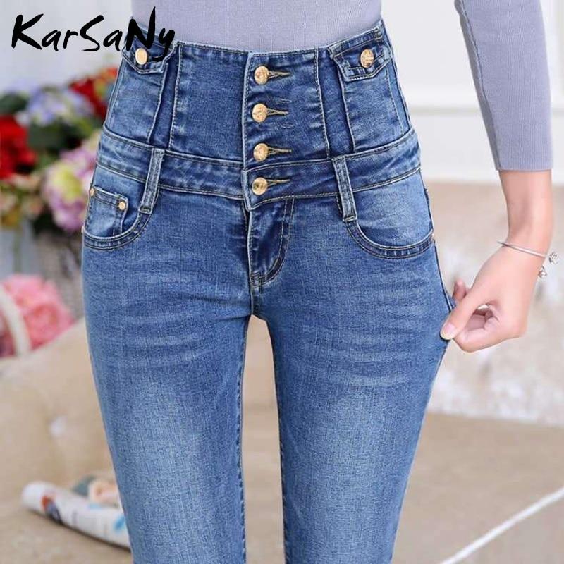 Warmed Jeans For Women High Waist Denim Pants Warm Winter Stretch Women's Fleece Jeans Women Plus Size Warm Denim Pants 2019