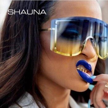 SHAUNA Ins Popular Oversize una pieza gafas sin marco gafas de sol de moda de las mujeres a prueba de viento cubierta gradiente gafas de sol hombres