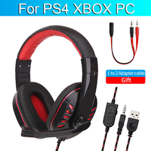 For PS4 XBOX Gaming Headset Computer Gamer Wired Headphone With Microphone 3D Stereo Cascos LED Music Cosque For Phone PC  USB logitech g433 wired headphone x 7 1 surround gaming headset for pc ps4 xbox computer peripheral accessories