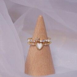 Delikatne kocie oko cyrkon kształt serca podwójny pierścień dla kobiet kwiat perła pasjans pierścień Bague codzienna data Party biżuteria akcesoria