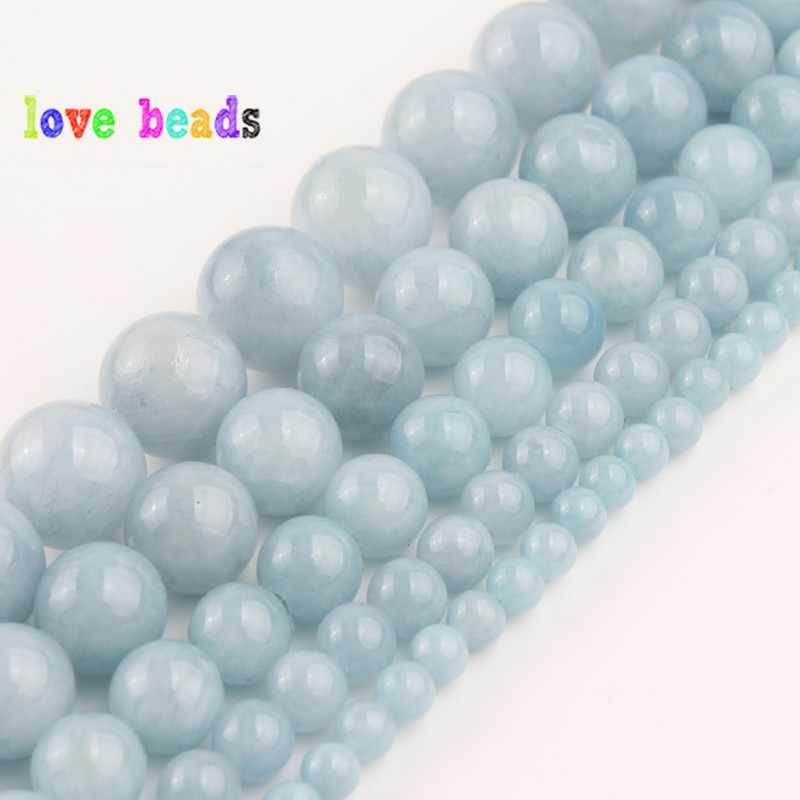 4//6//8//10MM Natural Sky Blue Jade Chalcedony Round Gemstone Loose Beads 15/'/'