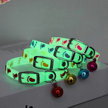 Dog Glowing Collars with bells Glow at Night Pet Puppy Cats Necklace Light Luminous Neck Ring Dogs Accessories image